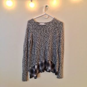 Anthropologie Cloud Chaser Sweater with Plaid Hem